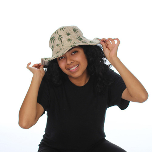 Hemp Hat with Pot Leaf Print and Cotton Lining
