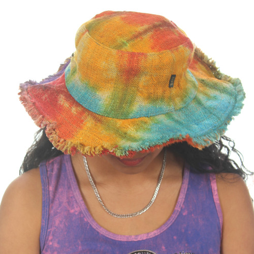 Hemp Frayed Edge Tie Dyed Hat with Cotton Lining