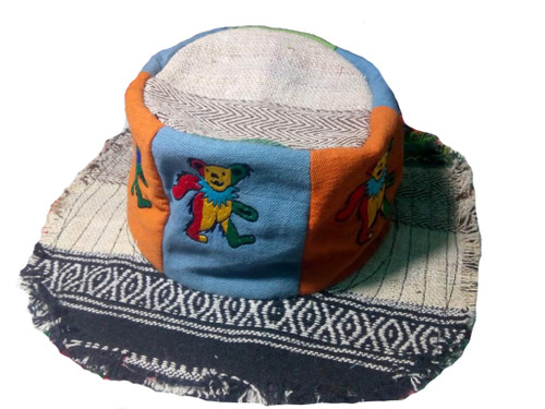 Upcycled Patchwork Hat w/ Frayed Edge & Multi Bear Embroidery