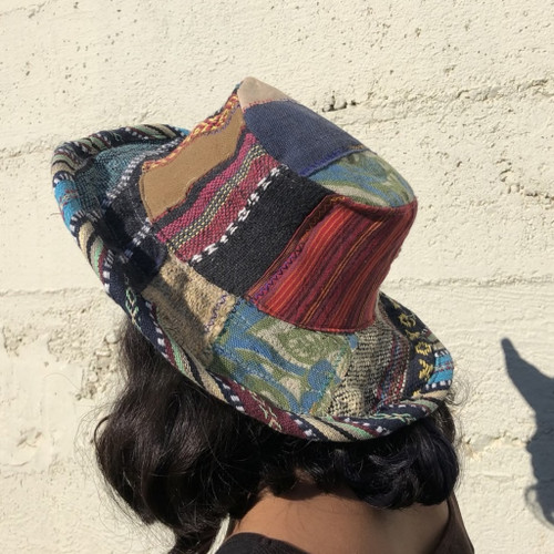 Upcycled Patchwork Hat With Finished Edge