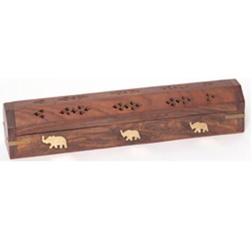 Elephant Wooden Box Incense Burner with Storage