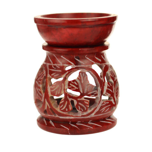 Red Soapstone Leaf Oil Diffuser-3.25 inches