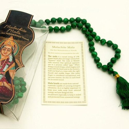 Man-Made Malachite Prayer Mala Beads