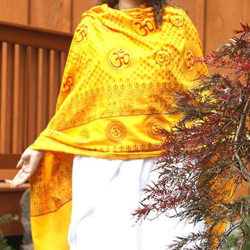 Yellow Mantra Om Meditation Yoga Prayer Shawl