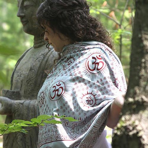 Gray Mantra Om Meditation Yoga Prayer Shawl