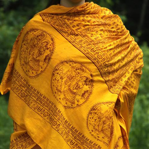 Yellow  Maha Mantra Meditation Yoga Prayer Shawl