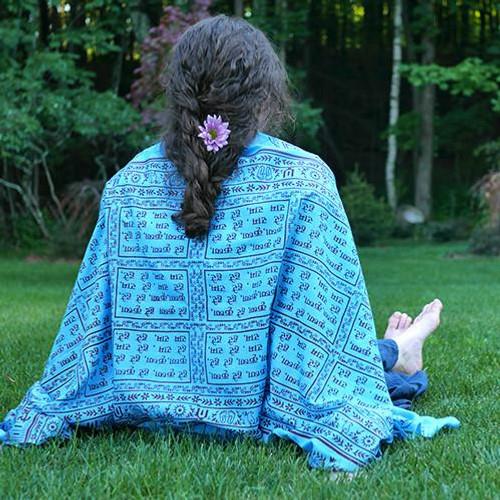 Turquoise Maha Mantra Meditation Yoga Prayer Shawl