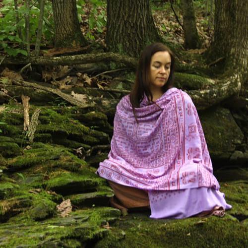 Purple Maha Mantra Meditation Yoga Prayer Shawl