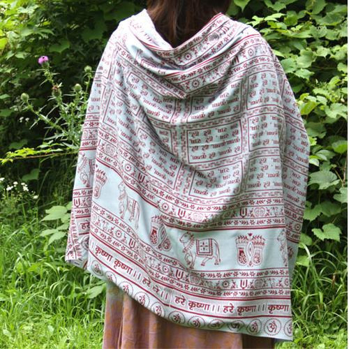 Gray Maha Mantra Meditation Yoga Prayer Shawl