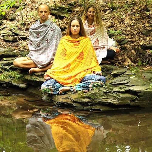 Yellow  Ganesh Meditation Yoga Prayer Shawl