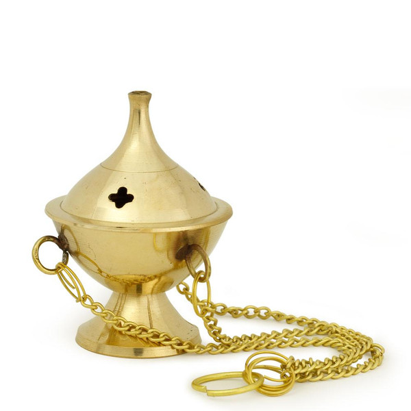 "Hanging Brass Burner, Jali  2.5""Hx2""D"