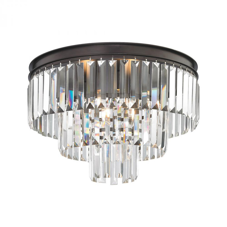 Palacial 3-Light Flush in Oil Rubbed Bronze with Clear Crystal, ELK Lighting 15225/3 YRCT