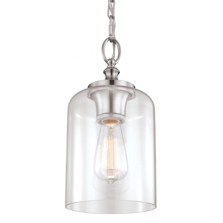 1 - Light Hounslow Mini Pendant, Generation Lighting - Feiss P1310BS QV2F