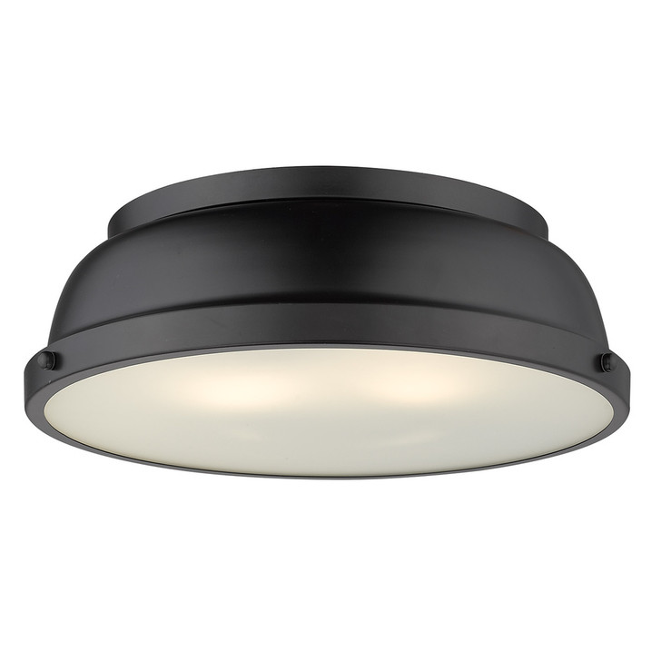 "Duncan Flush Mount, 2-Light, Matte Black, 14""W (3602-14 BLK-BLK AP8U)"