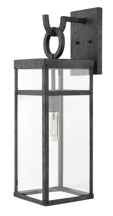 """Porter Outdoor Wall Lantern, 1-Light, Aged Zinc, Clear Glass, 25""""H (2805DZ V7NX)"""