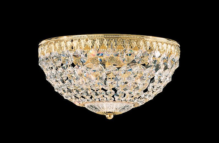 Petit Crystal 4-Light 110V Close to Ceiling in Silver with Clear Spectra Crystal, Schonbek 1870 1560-40A 1A1DU