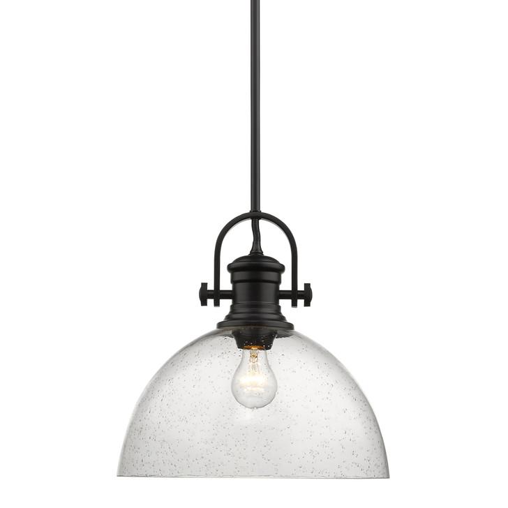 "Hines Pendant, 1-Light, Matte Black, Seeded Glass, 13-1/8""W (3118-L BLK-SD AL8V)"
