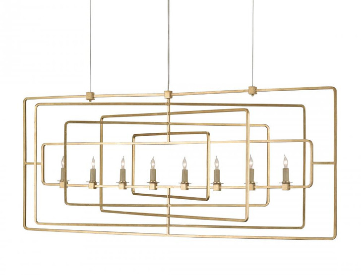 Metro Gold Rectangular Chandelier, Currey 9542 GF7X