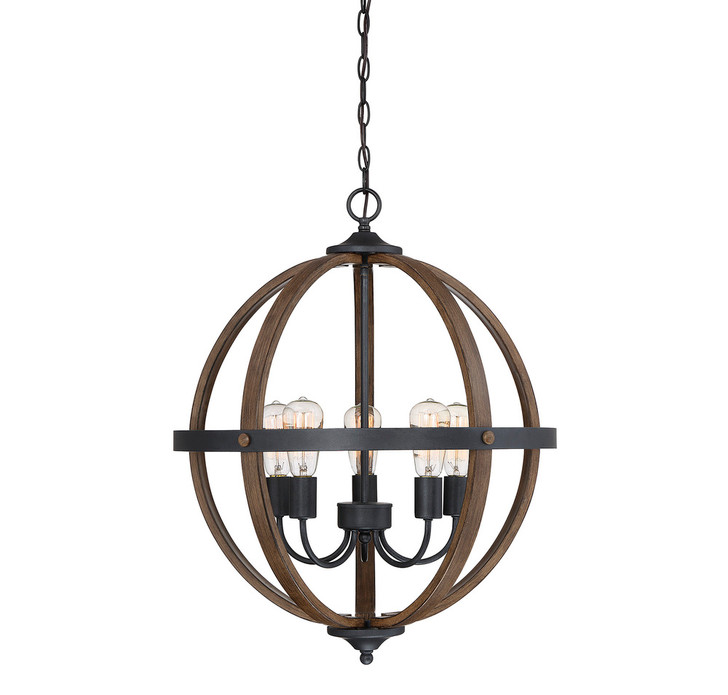 """Chandelier, 5-Light, Wood with Black Accents, 22""""W (80407GD)"""