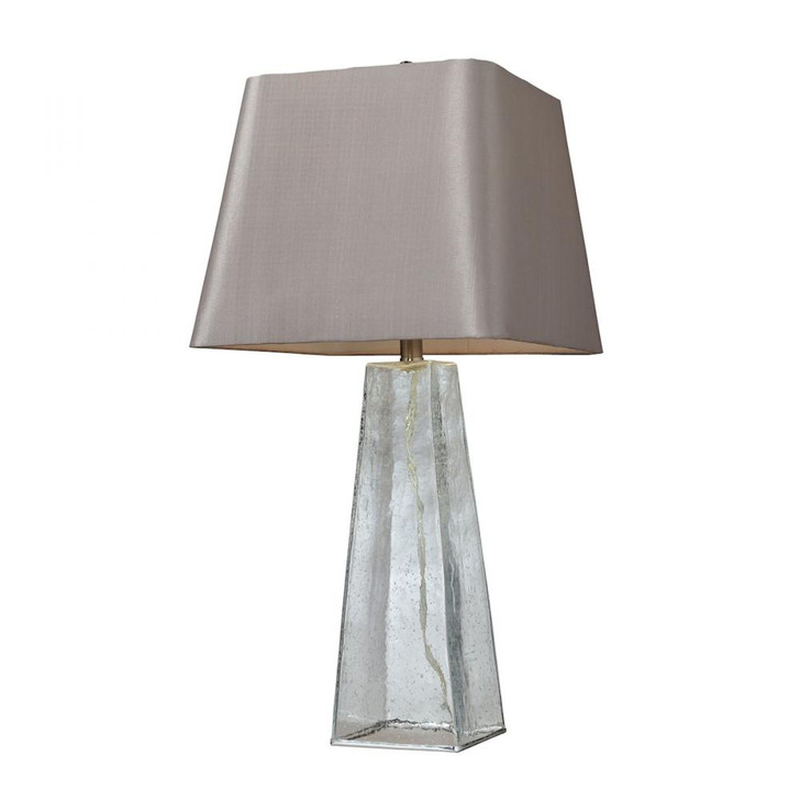Seeded Glass Table Lamp In Clear With Light Grey Shade, Elk Home D146 70EF182