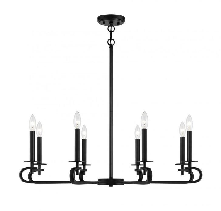Torino 8 Light Matte Black Chandelier, Savoy House 1-2451-8-89 AHUXM