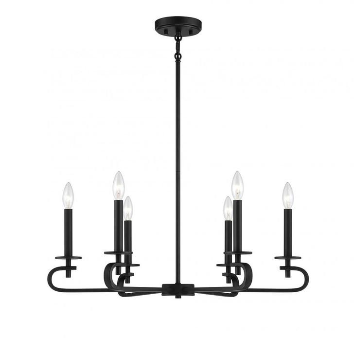 Torino 6 Light Matte Black Chandelier, Savoy House 1-2450-6-89 AHUXQ