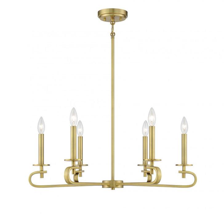 Torino 6 Light Warm Brass Chandelier, Savoy House 1-2450-6-322 AHUXT