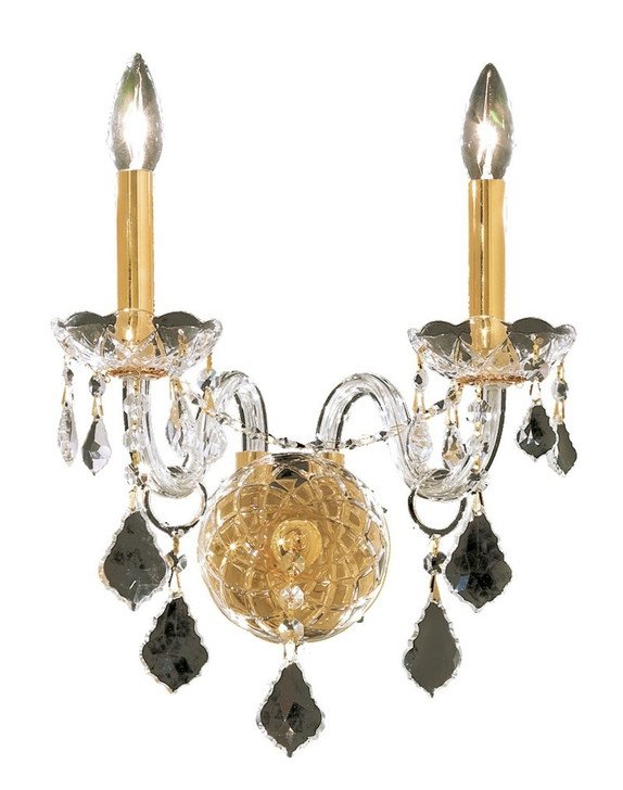 Alexandria 2 light Gold Wall Sconce Clear Elegant Cut Crystal, Elegant 7831W2G/EC 7GXDN
