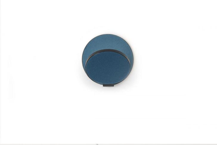 "Gravy Wall Sconce, Plug-In, LED, Metallic Black body, Azure felt plates, 5""H (GRW-S-MBK-AZF-PI 407UGLH)"