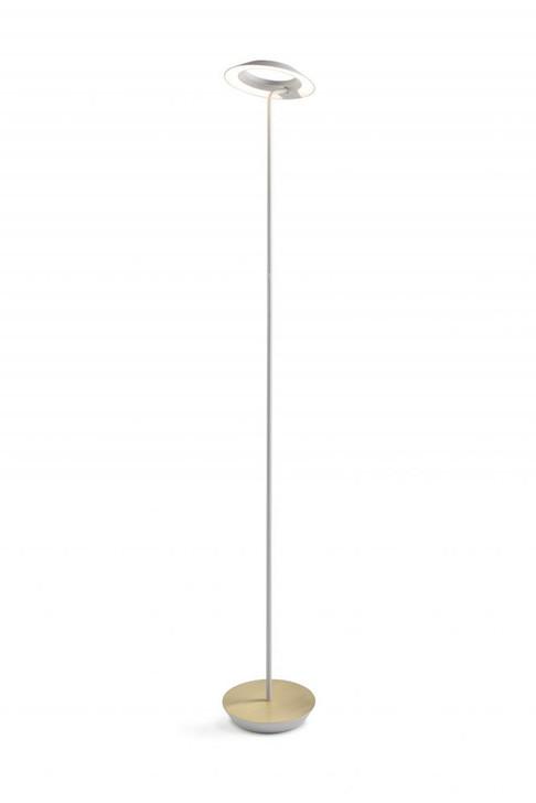 Royyo Floor Lamp, Matte White Body, Brushed Brass base plate, Koncept Inc RYO-SW-MWT-BRS-FLR 407UEMP
