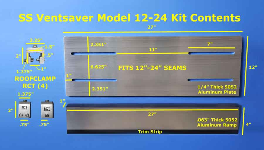 Standing Seam VentSaver Plate Kit Components