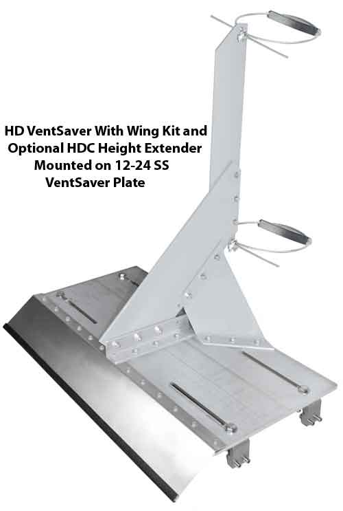 HD VentSaver With HDC Height Extender On 12-24 Standing Seam Plate