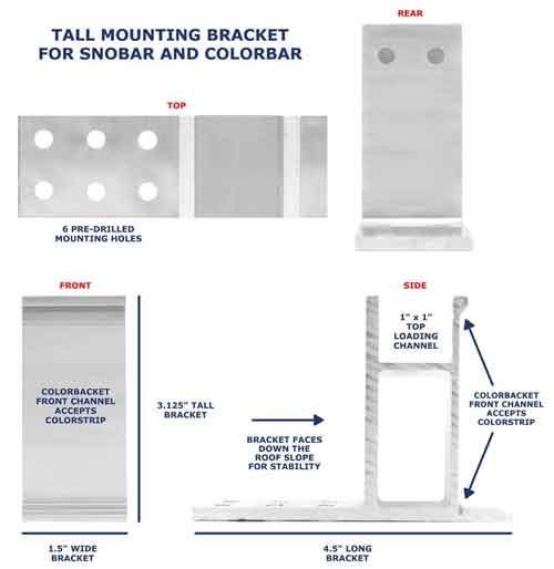 Tall SnoBar/ColorBar Screw Down Mounting Bracket Views