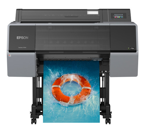 The EPSON® SureColor® P9570 44-inch Wide-Format Inkjet Printer and EPSON® SureColor® P7570 24-inch printers utilize a 12 Color Pro ink set.  This offers extended color gamut via improved 12 color ink system, the EPSON UltraChromePRO12 Pro12 ink is available in three different ink capacities, 150ml, 350ml and 700ml cartridges.  Allowing you to optimize both cost per square foot to your print individual print volume needs.