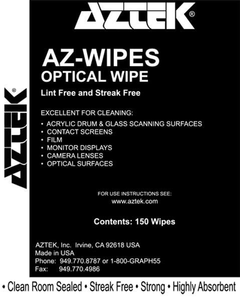 """Aztek Optical Wipes for cleaning of sensitive surfaces, 150 wipers per box, 12"""" x 12"""", clean room sealed and highly absorbent."""