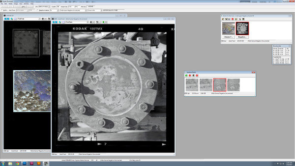 120mm and 4X5 Negative Scanning session in progress with the Aztek Premier Drum Scanner being driven by Digital PhotoLab.  The Premier is capable of resolutions up to 8000DPI at 3 microns and can accommodate a variety of film formats.  Photo credit to Rich Leach copyright 2015