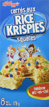 Kellogg's Rice Krispies Square Bars, 8ct, Rainbow Cereal Bars 176g/6.2oz, (Imported from Canada)
