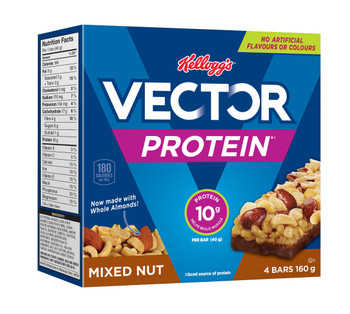 Kellogg's Vector Protein Bars, Mixed Nut, 160g/5.6oz, (Imported from Canada)