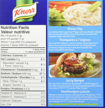 Knorr Recipe Onion Soup Mix 2 Pouches-56g/2oz. (Imported from Canada)