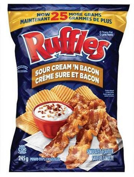 Lays Ruffles Sour Cream & Bacon Potato Chips 245g {Imported from Canada}