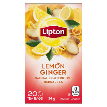 Lipton Lemon Ginger Herbal 20 Tea Bags per box, (Imported from Canada)
