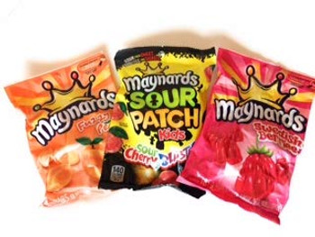 Maynards Candy 3ct, 185g Sour Cherry Blasters, 185g Swedish Berries, 185g Fuzzy Peach, (Imported from Canada)