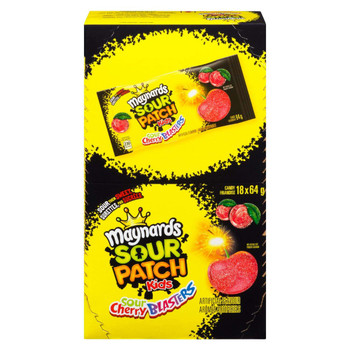 Maynards Sour Cherry Blasters Candy, 64g/2.26oz (18ct), (Imported from Canada)