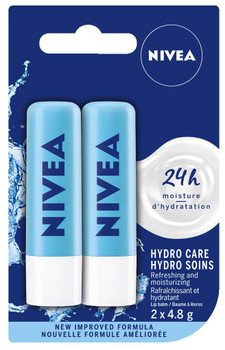 NIVEA Hydro Care Lip Balm Sticks, Duo Pack, 2 x 4.8g {Imported from Canada}