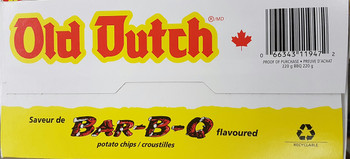 Old Dutch BBQ Barbecue Potato Chips 220g Box {Imported from Canada}