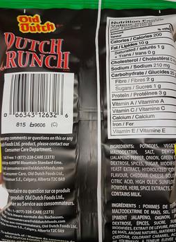 Old Dutch Dutch Crunch Jalapeno & Cheddar 40g/1.411oz Chips {Canadian}