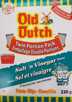 Old Dutch Salt & Vinegar Potato Chips 220g/7.8 oz., Box {Imported from Canada}