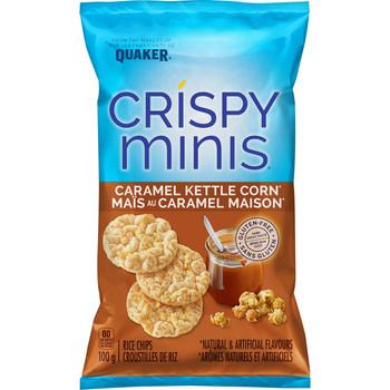 Quaker Crispy Minis Caramel Kettle Corn Rice Chips 100g/3.5 oz. (Pack of 12)