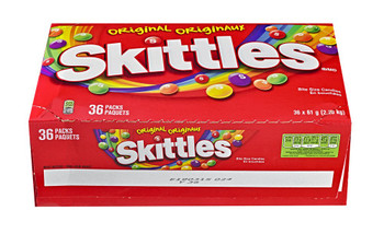 Skittles Original, 61g Bags, 36pk (4.9lb) Box Total, {Imported from Canada}