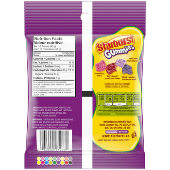 Starburst Gummies Sour Berries Candy Stand Up Pouch, 164g/5.8oz, (Imported from Canada)